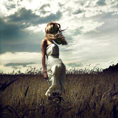 Canvas print Jump women in wheat field