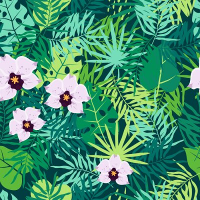Canvas print Jungle Seamless Pattern with Tropical Leaves and Orchid.