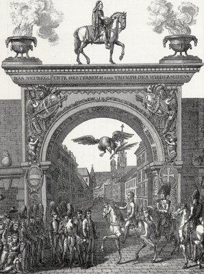 Canvas print Kaiser Franz I. zieht in Wien ein im Juni 1814, Kupferstichvorlage