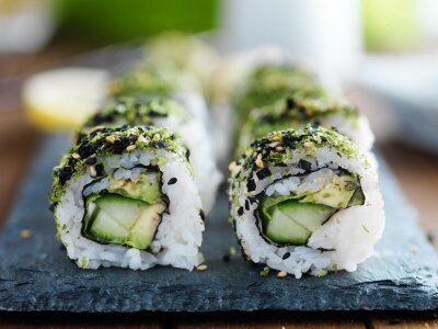 Canvas print kale, avocado and cucumber sushi