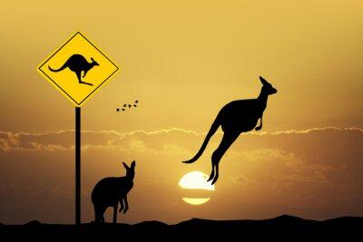 Canvas print Kangaroo sign caution