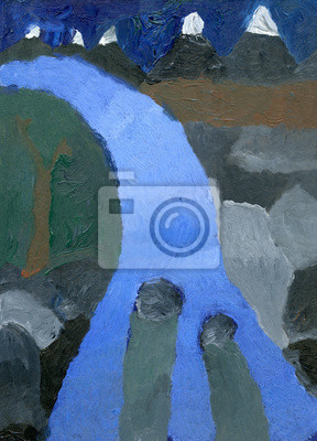 Kid's oil painting of landscape with waterfall
