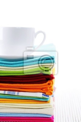 Canvas print kitchen towels and cup of tea or coffee