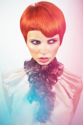 Canvas print Lady with stylish hairdo
