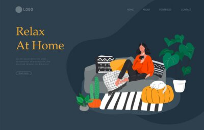 Canvas print Landing page template with girl sitting and resting on the couch with a cat and coffee. Daily life and everyday routine scene by young woman in scandinavian style cozy. Cartoon vector