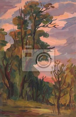 Landscape. Forest. Oil painting