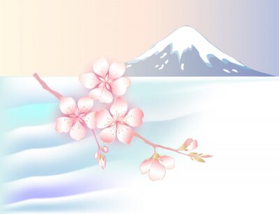 Landscape in Japanese style. Cherry blossoms branch on the background of the lake and mount Fuji.