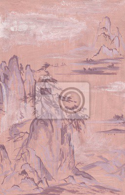Canvas print landscape in the Japanese style painting. On a pink background wild pines on the cliffs, the mountain fog. Gouache