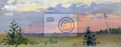 Landscape. Oil painting, acrylic, gouache. Sunset. Early morning. Sky clouds.