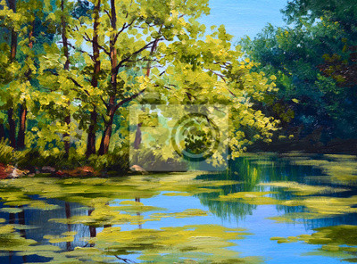 landscape oil painting - river in autumn forest