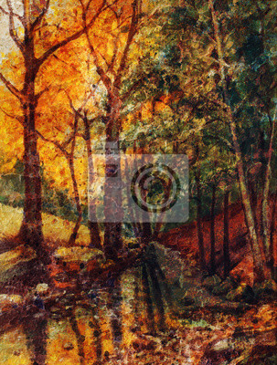 landscape oil painting with river in autumn forest. Vintage