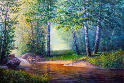 Canvas print landscape painting of waterfall