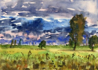Landscape with cloudy sky. Trees in the meadow. The city on the horizon. Watercolor painting