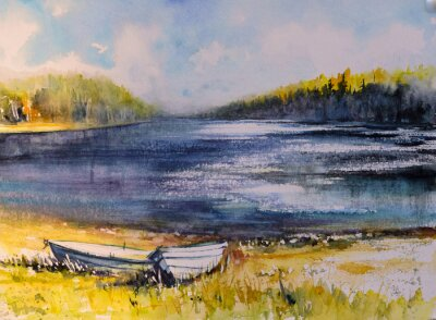 Canvas print Landscape with fishing boats on lake coast. Picture created with watercolors.