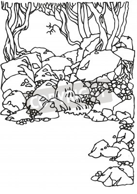 Landscape with mountain river and trees. View of the canyon. Illustration of the black and white, Sketch, hand drawn with ink.