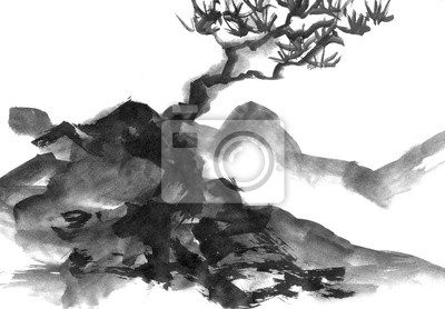 Landscape with mountains and trees, hand drawn with ink. Traditional Japanese ink painting sumi-e.