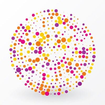 Canvas print large colored circle of the small polka dots