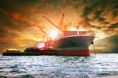 Canvas print large container ship loading industries product for logistic business
