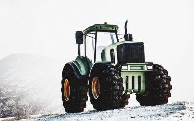 Canvas print Large heavy duty green tractor on a mountain