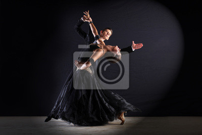 Canvas print Latino dancers in ballroom isolated on black