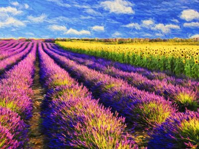 Canvas print Lavender and sunflowers field.