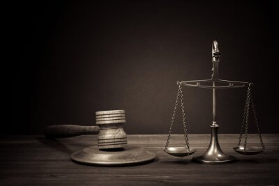 Canvas print Law scales, judge gavel on table. Symbol of justice