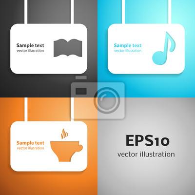 Leisure paper applique background set. Vector illustration.