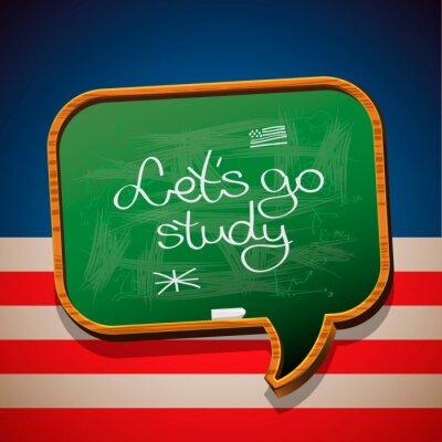 Canvas print Let's go study - written on blackboard, vector Eps10 image.