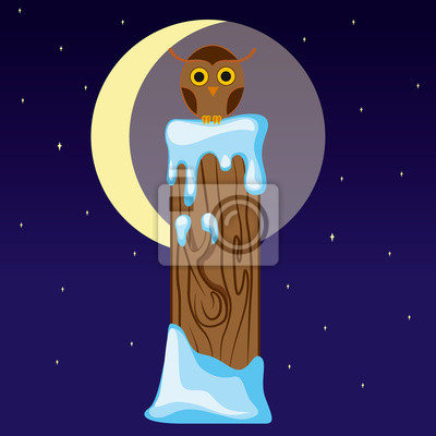 Letter I in the form of an owl on a tree stump in winter moonlit night. Vector