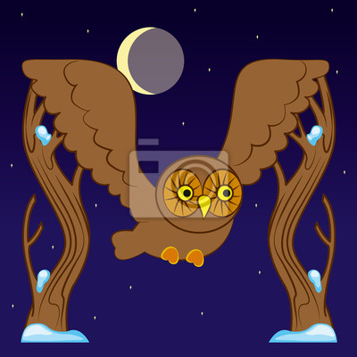 Letter M in the form of a flying owl among the trees of winter moonlit night. Vector