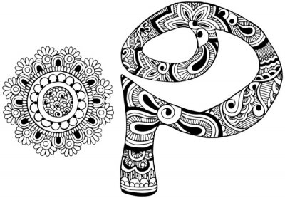 Canvas print letter P decorated in the style of mehndi