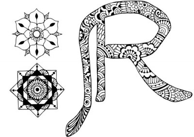 Canvas print letter R decorated in the style of mehndi