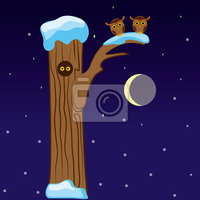 Letter R in the form of a tree with owls in winter moonlit night. Vector
