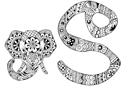 Canvas print letter S decorated in the style of mehndi