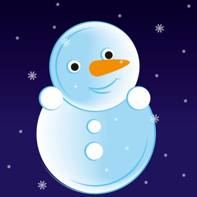 Letter S in the shape of a snowman in the winter night. Vector