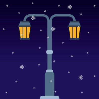 Letter T in the form of a street lamp in a winter night. Vector