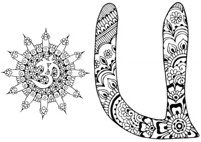 Canvas print letter U decorated in the style of mehndi