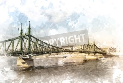 Canvas print Liberty Bridge in Budapest, Hungary. Tourist destination photography with sityscape and river.