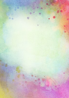 Canvas print Light abstract blue, green painted watercolor splashes background