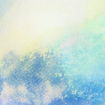 Canvas print Light abstract blue painted watercolor splashes background