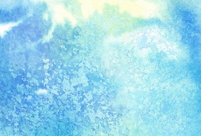 Canvas print Light abstract blue painted watercolor splashes or cloud, sky