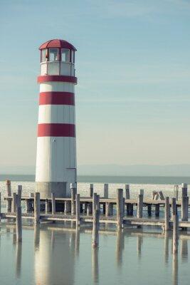 Canvas print Lighthouse and wooden pier, Podersdorf, Austria