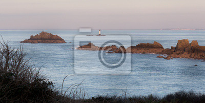 Lighthouse in sea, Cote D'Emeraude, Cancale, Ille-Et-Vilaine, Br