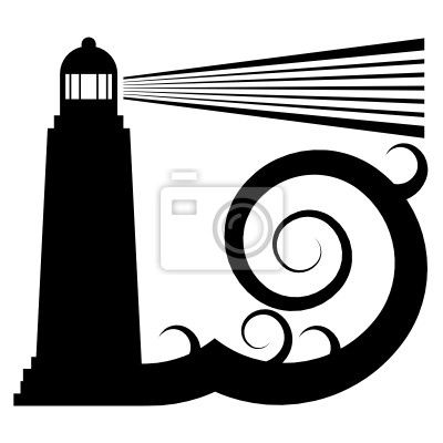 Lighthouse in sea symbol, vector illustration