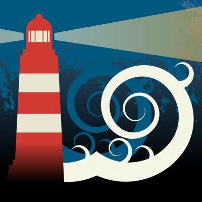 Lighthouse in sea, vector illustration