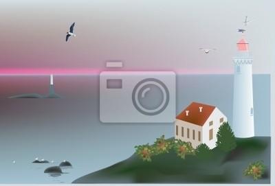 lighthouse near sea at sunset