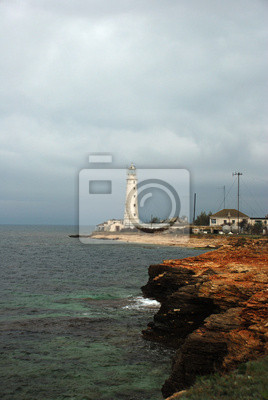 lighthouse over sea storm