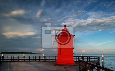 Lighthouse, pier, sea, Lignano Sabbiadoro
