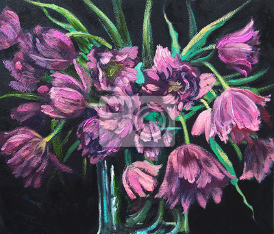 Lilac double tulips in glass vase, on black background, original oil painting, impressionistic style