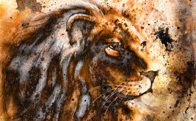 Canvas print lion collage on color abstract  background,  rust structure,